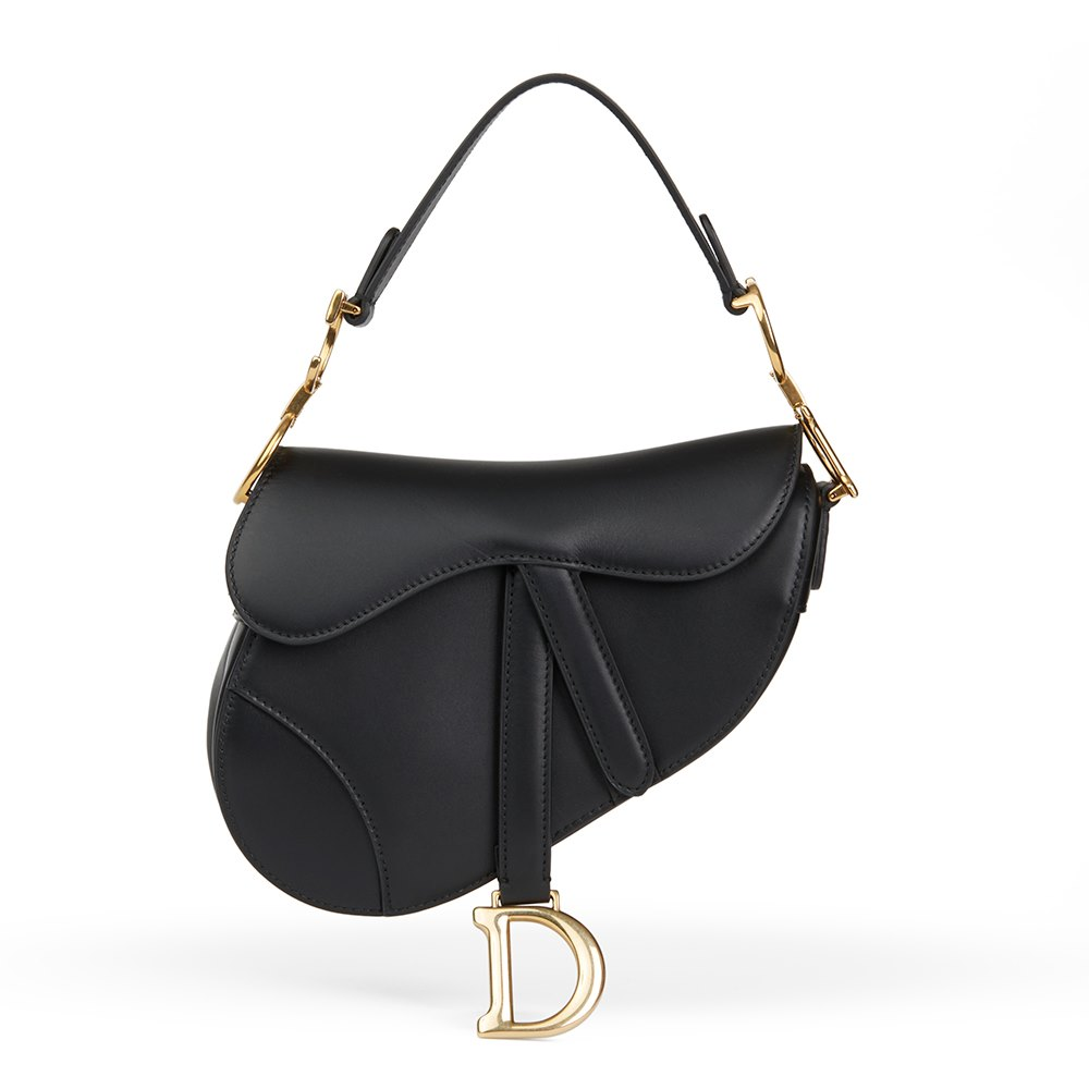 100% top quality unbeatable price outlet store sale Black Calfskin Leather Mini Saddle Bag
