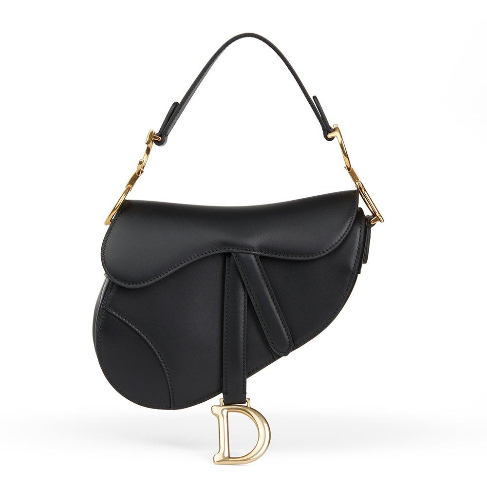 9fcab027602f Christian Dior Black Calfskin Leather Mini Saddle Bag