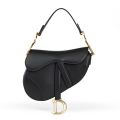 Christian Dior Black Calfskin Leather Mini Saddle Bag