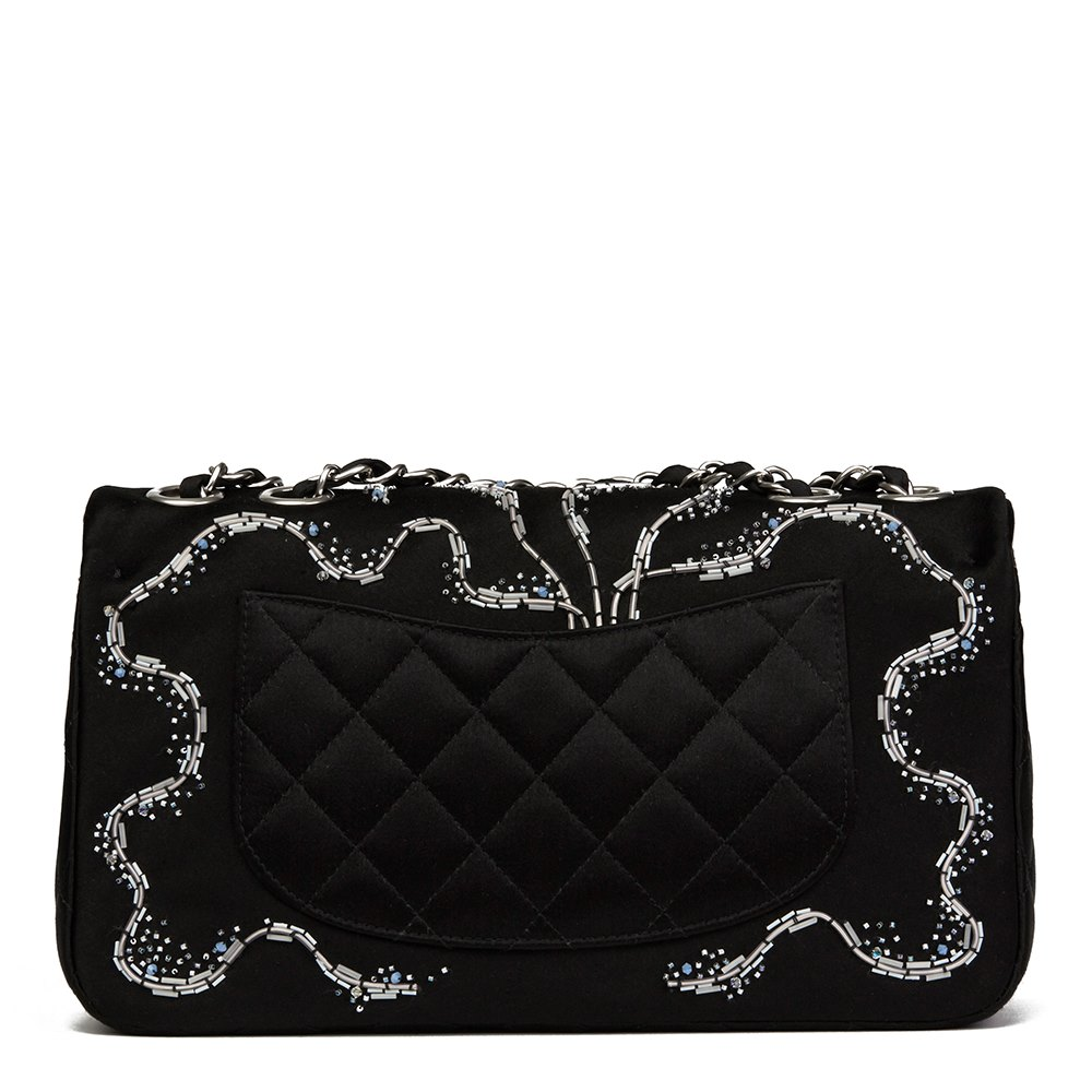 Chanel Black Quilted & Embellished Satin LED Illuminating Medium Classic Single Full Flap Bag
