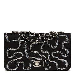 Chanel Black Quilted & Embellished Satin LED Illuminating Medium Classic Single Full Flap Bag