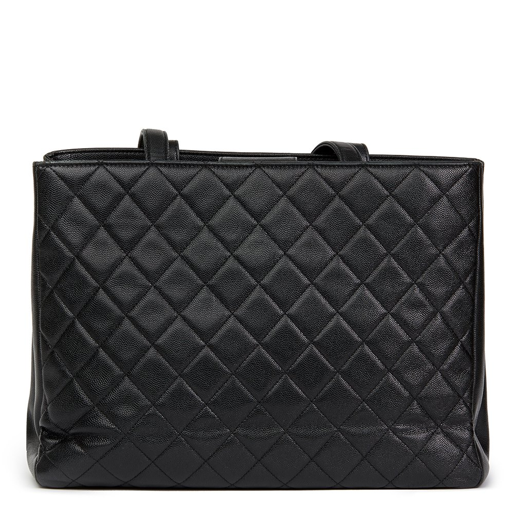 Chanel Black Quilted Caviar Leather Large Shoulder Shopping Bag