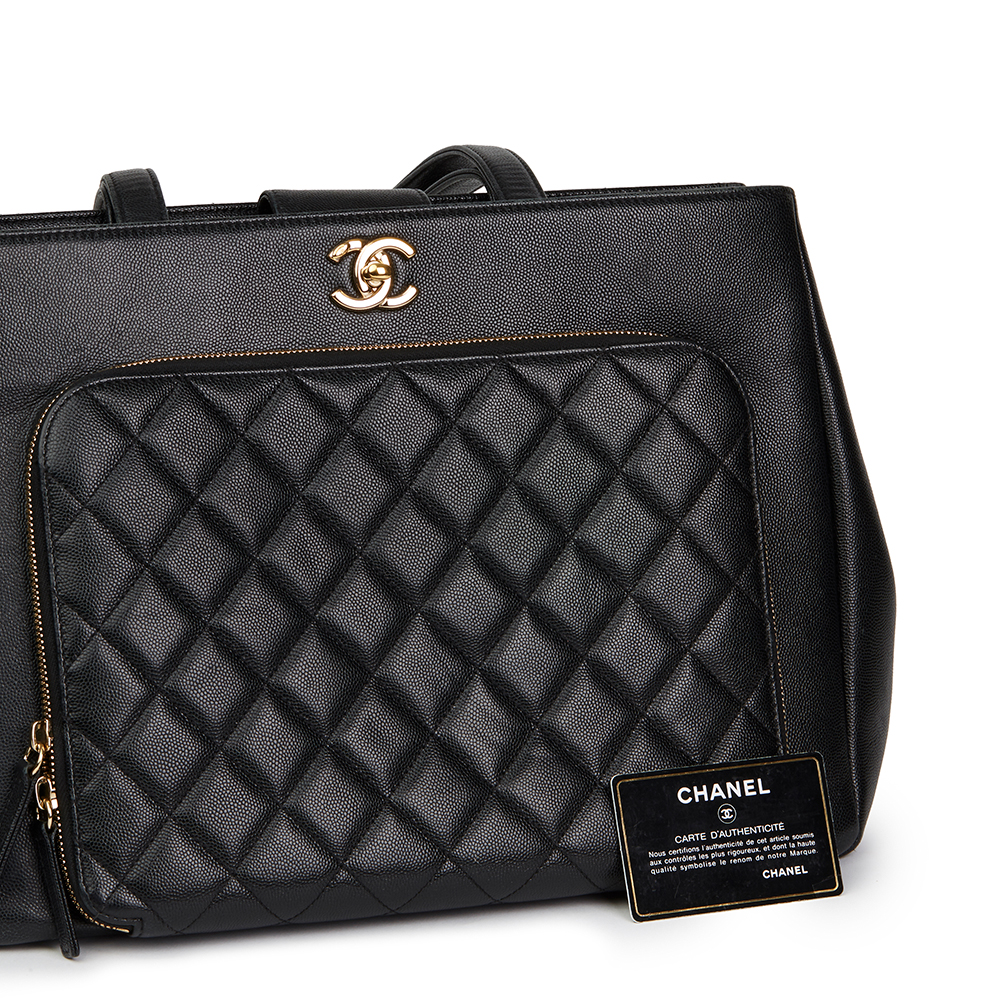 d0223240c770 CHANEL BLACK QUILTED CAVIAR LEATHER LARGE SHOULDER SHOPPING BAG ...