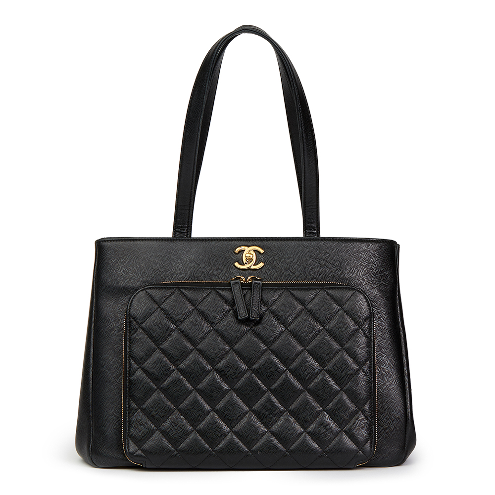 260ccf4712b1fb Chanel Black Quilted Caviar Leather Large Shoulder Ping Bag