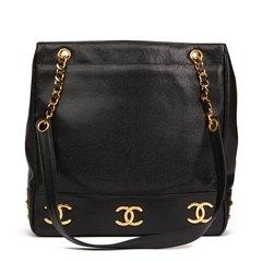 Chanel Black Caviar Leather Jumbo Logo Trim Shoulder Bag