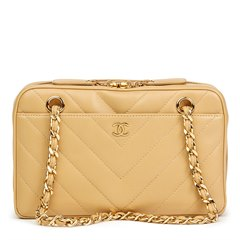 Chanel Beige Chevron Quilted Lambskin Classic Camera Bag