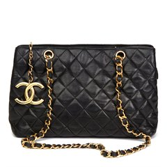 Chanel Black Quilted Lambskin XL Timeless Charm Shoulder Bag