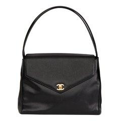 Chanel Black Caviar Leather Vintage Classic Shoulder Bag