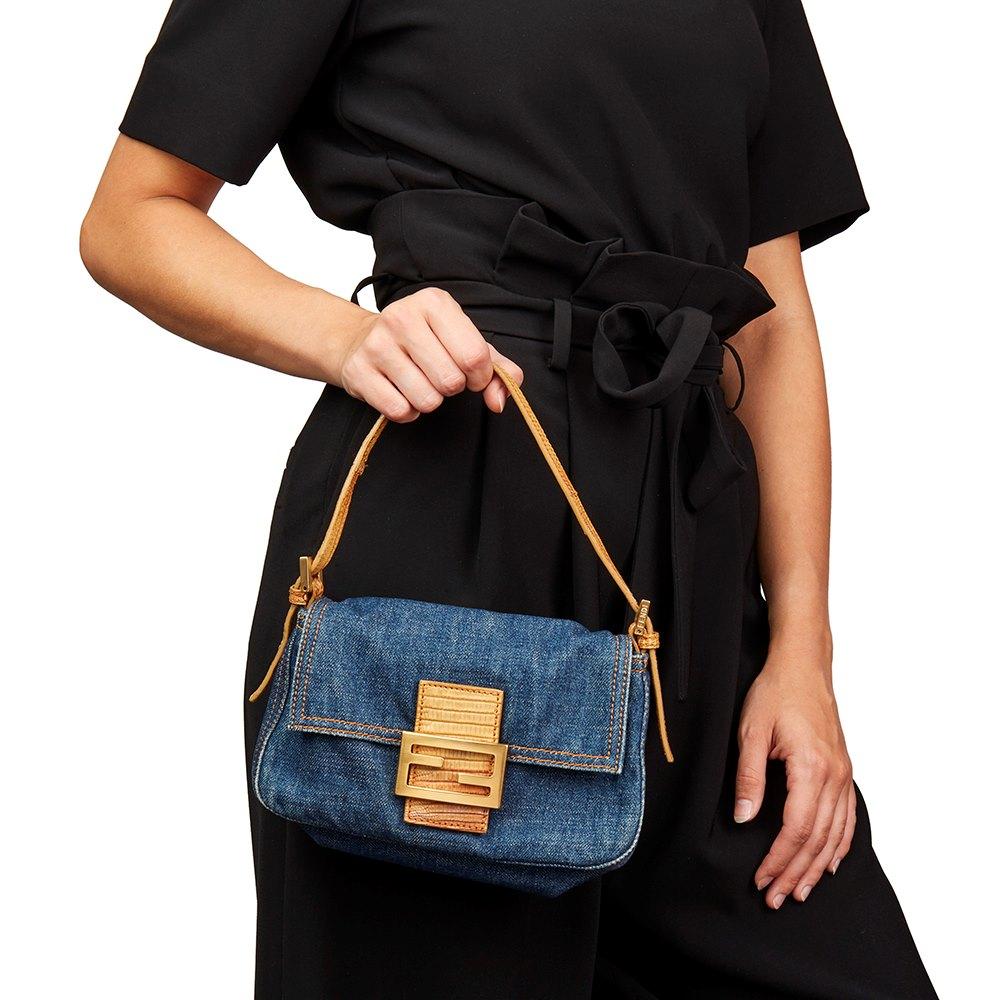 4b1f4673e4d4 Fendi Blue Denim   Beige Lizard Leather Mini Mama Baguette