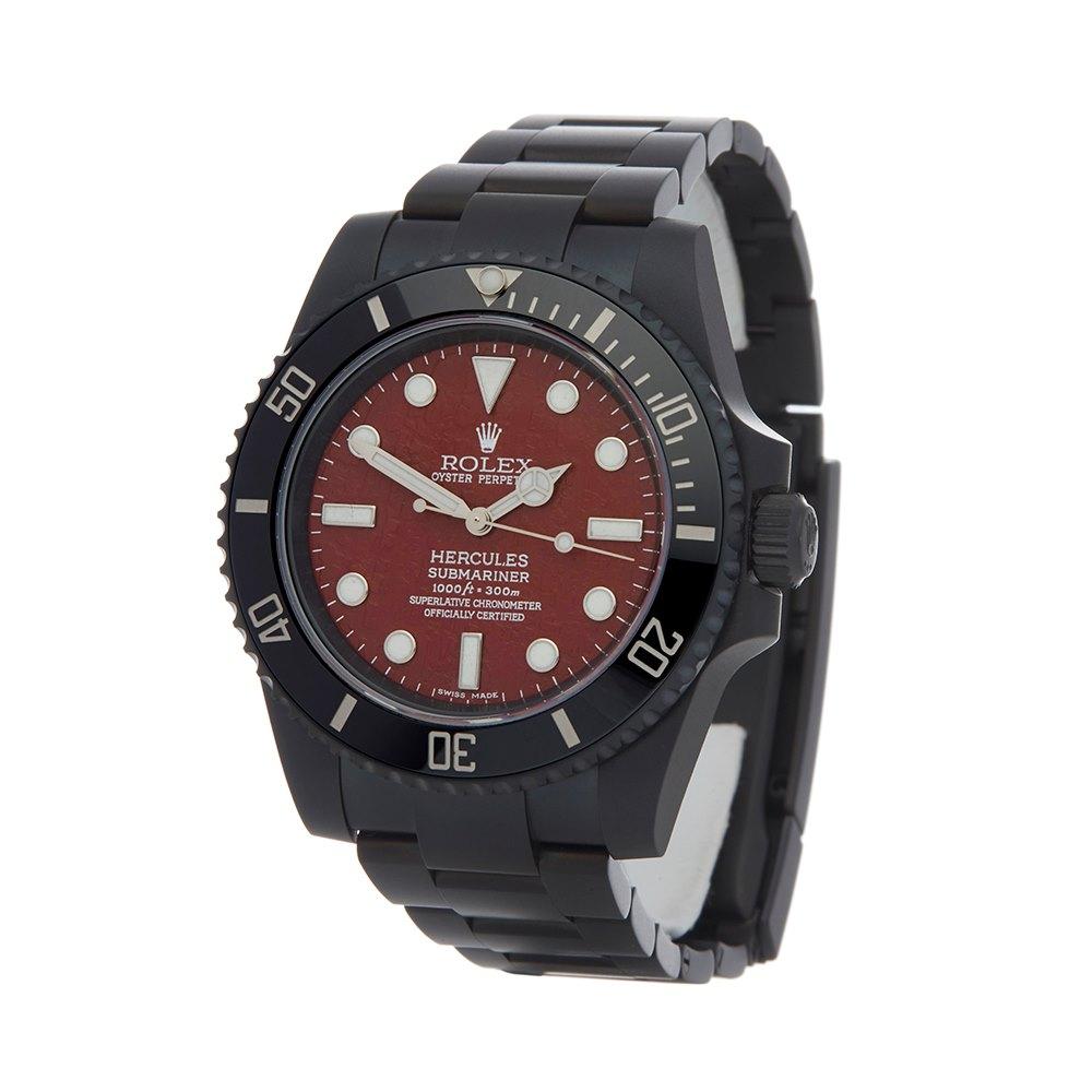 Rolex Submariner Non Date Hercules Custom Dlc Coated Stainless Steel 114060