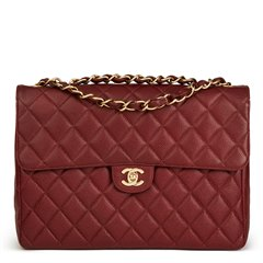 Chanel Burgundy Caviar Leather Vintage Jumbo Single Flap Bag