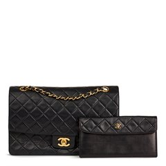 Chanel Black Quilted Lambskin Vintage Tall Classic Single Flap Bag with Wallet