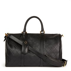 Chanel Black Quilted Lambskin Boston 50