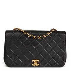 Chanel Black Quilted Lambskin Small Classic Single Full Flap Bag