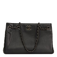 Chanel Black Quilted Metallic Caviar Leather Woven Chain Shopping Bag