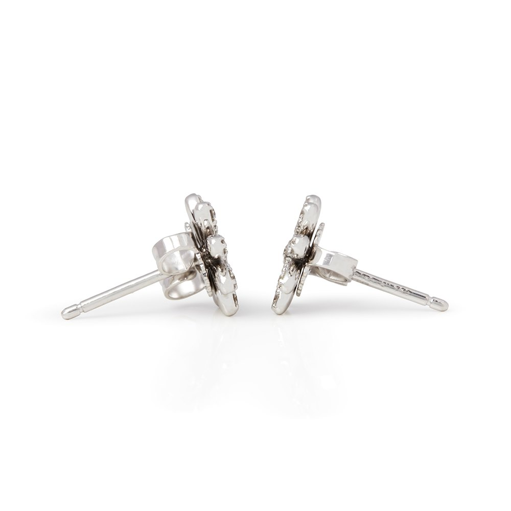 Tiffany & Co. Platinum Diamond Paloma Picasso Flower Stud Earrings