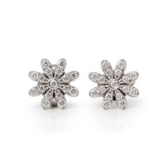 Tiffany & Co. Platinum Diamond Paloma Picasso Flower Stud Earrings