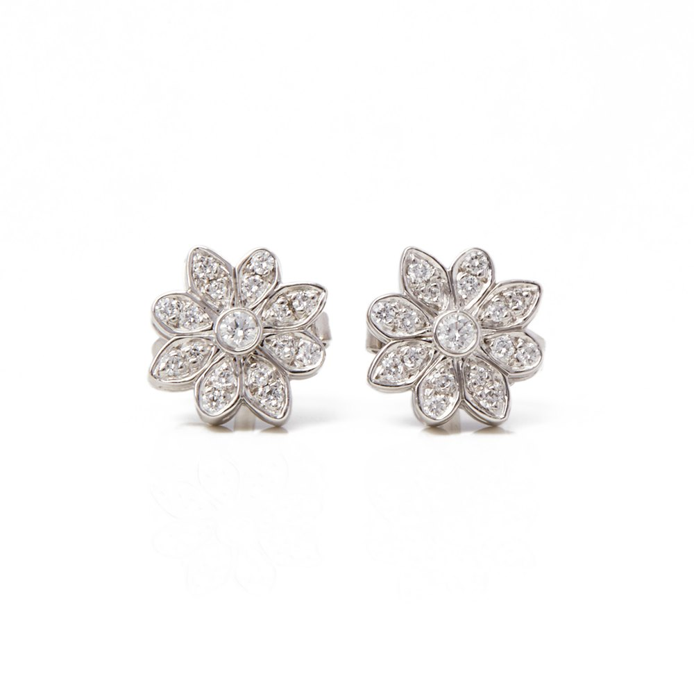 Tiffany & Co. Platinum Diamond Flower Enchant Stud Earrings