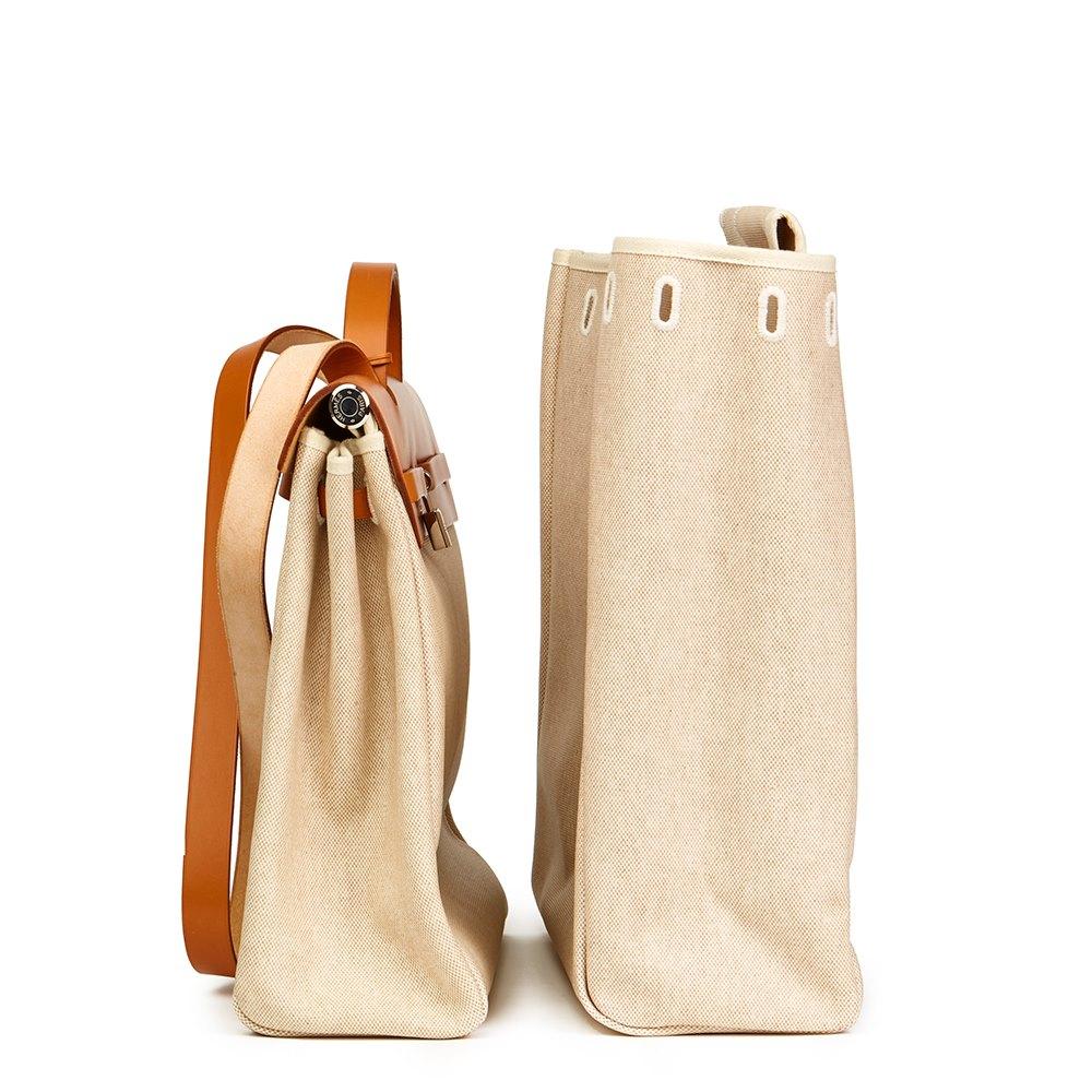c9adccf84 Hermès Natural Hunter Cowhide Leather & Beige Canvas Herbag MM 2 ...