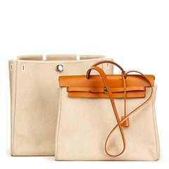 Hermès Natural Hunter Cowhide Leather & Beige Canvas Herbag MM 2 in 1