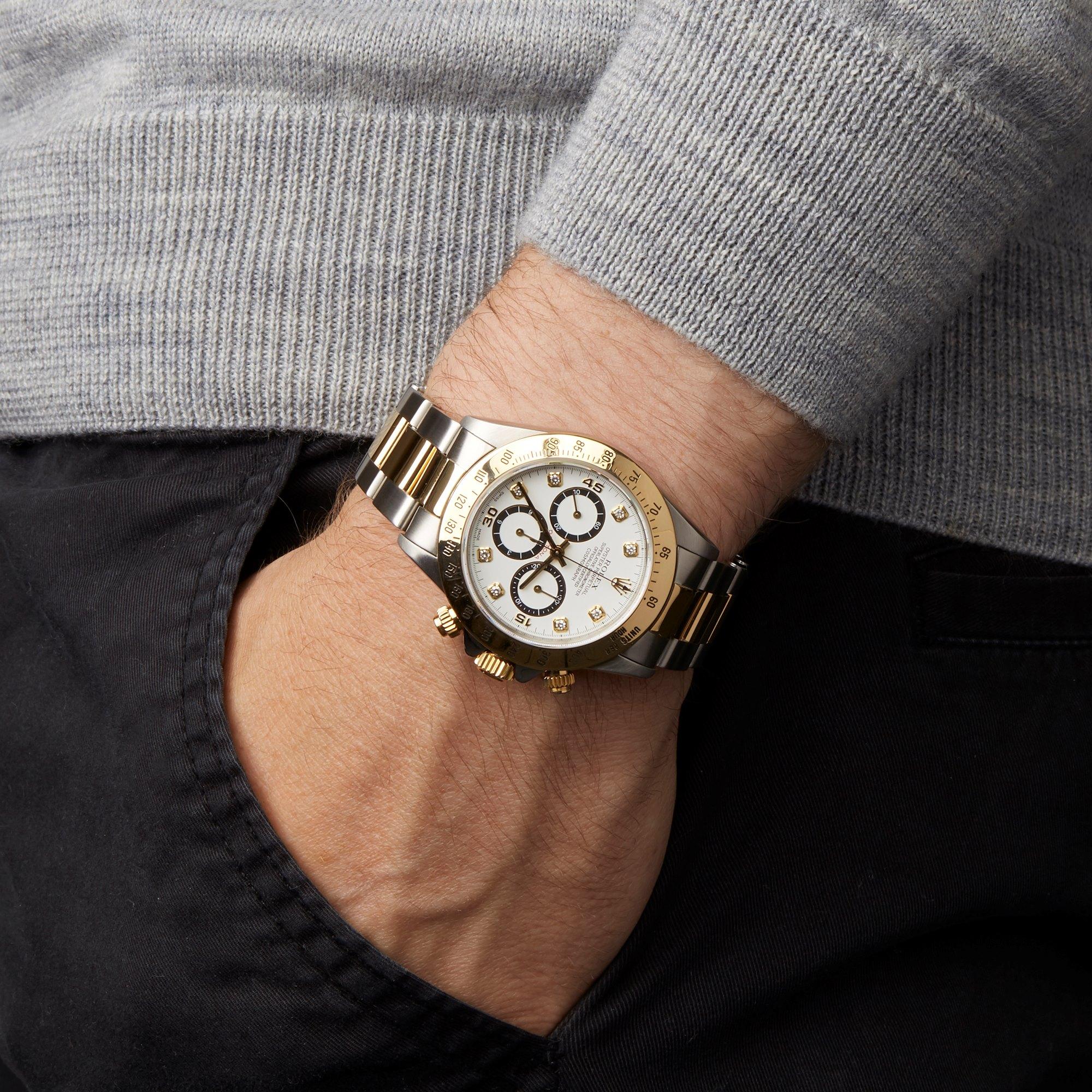 Rolex Daytona Diamond Inverted 6 Zenith Chronograph Stainless Steel & Yellow Gold 16523