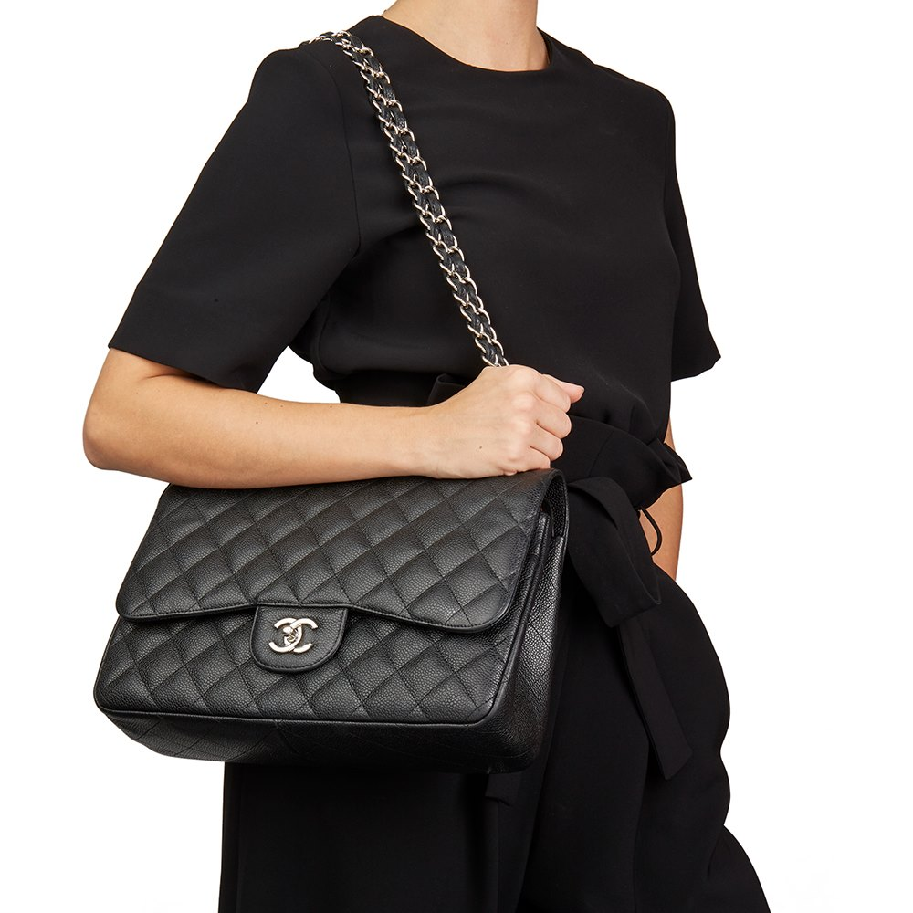 6070873ae92e Chanel Black Quilted Caviar Leather Jumbo Classic Double Flap Bag
