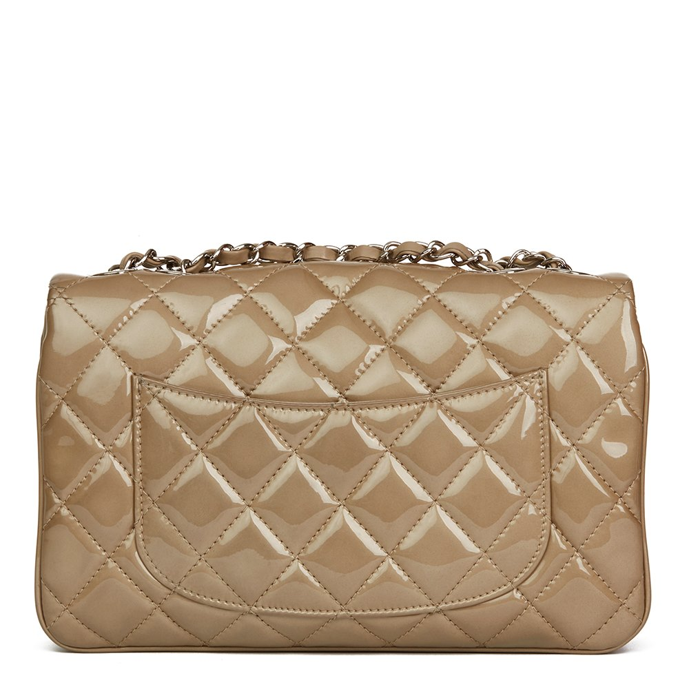 Chanel Taupe Quilted Patent   Lambskin Leather Accordion Single Flap Bag 552719f7e77b3