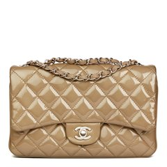 Chanel Taupe Quilted Patent & Lambskin Leather Accordion Single Flap Bag