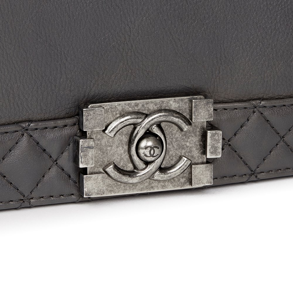 Chanel Grey Quilted Calfskin Leather XL Le Boy Reverso