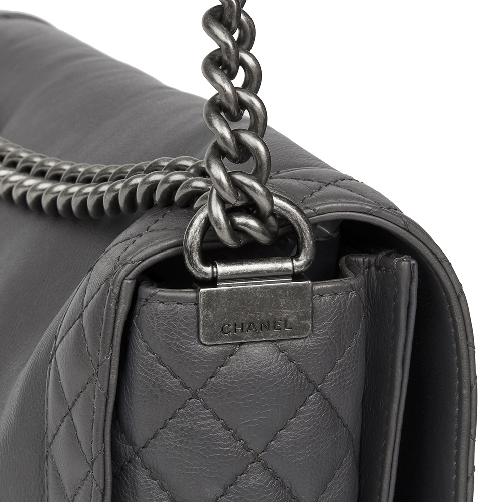 9cea60a3fabd CHANEL GREY QUILTED CALFSKIN LEATHER XL LE BOY REVERSO HB2125