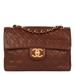 Chanel Brown Quilted Lambskin Vintage Jumbo XL Soft Flap Bag