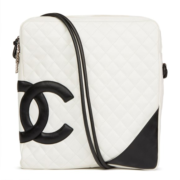 Chanel White Quilted Calfskin Leather Large Cambon Messenger