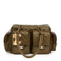 Chanel Khaki Quilted Calfskin Leather & Natural Python Leather Reporter Cambon