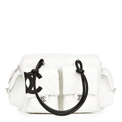 Chanel White Quilted Calfskin Leather Reporter Cambon