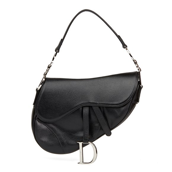 Christian Dior Black Calfskin Leather Saddle Bag