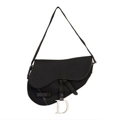 Christian Dior Black Mesh Fabric Crossbody Saddle Bag