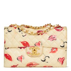 Chanel Beige Quilted PVC 'Lips & Kisses' Vintage Maxi Jumbo XL Flap Bag