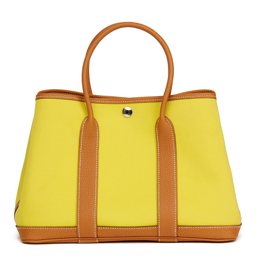 4a22155b6e62 Hermès Lime Canvas   Toffee Negonda Leather Garden Party 30cm
