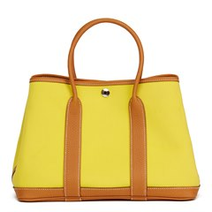 Hermès Lime Canvas & Toffee Negonda Leather Garden Party 30cm