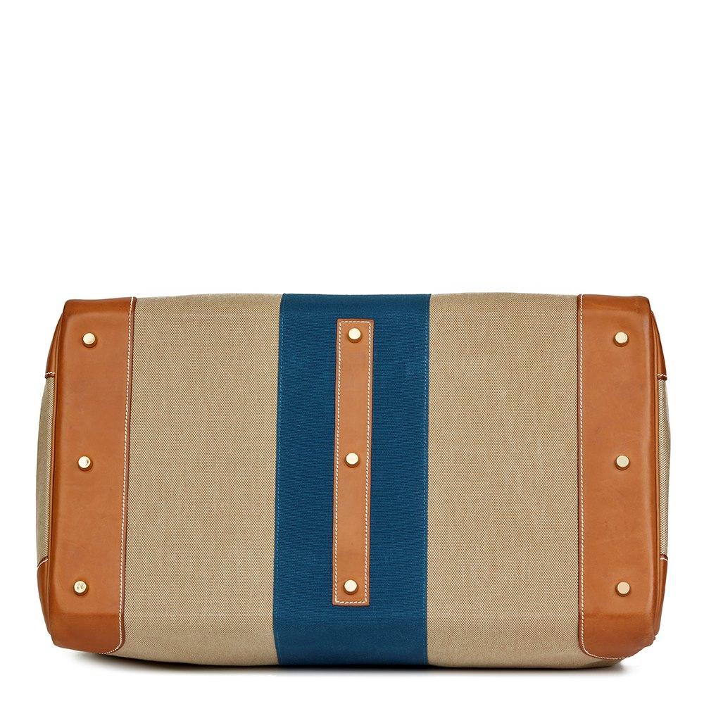 6e8f27474b1 Hermès Barenia Leather   Beige Canvas Blue Flag Birkin 50cm HAC