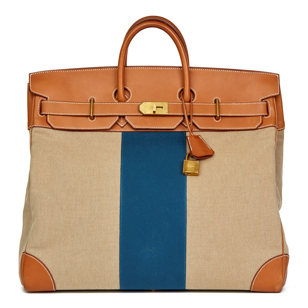 09866c7a1b Hermès Barenia Leather   Beige Canvas Blue Flag Birkin 50cm HAC