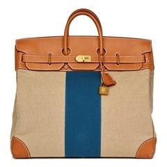 Hermès Barenia Leather & Beige Canvas Blue Flag Birkin 50cm HAC