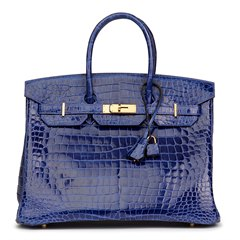 Hermès Blue Saphir Shiny Porosus Crocodile Leather Birkin 35cm