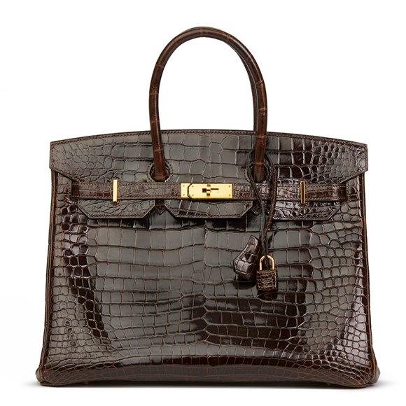 Hermès Chocolate Brown Shiny Porosus Crocodile Leather Birkin 35cm