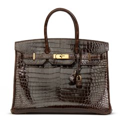 Hermès Chocolate Brown Shiny Porosus Crocodile Leather Birkin 35cm