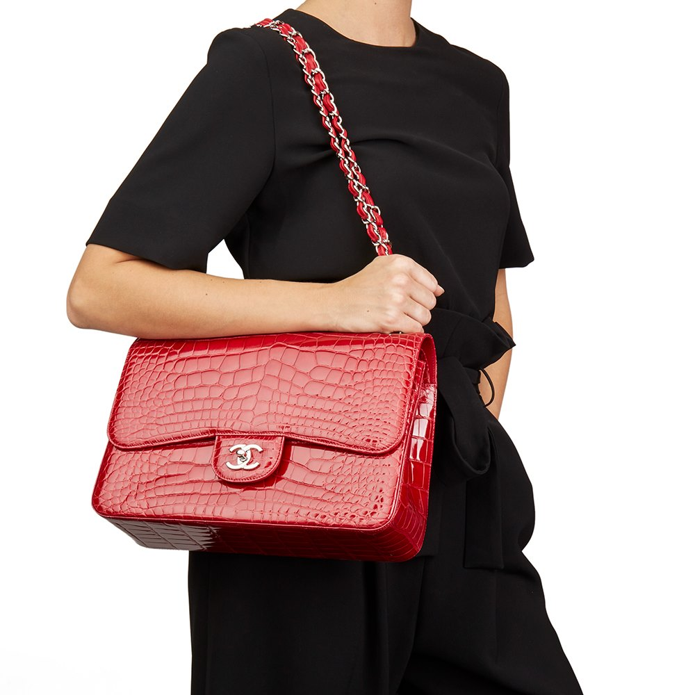 7f6d505acfe30e Chanel Red Shiny Mississippiensis Alligator Leather Jumbo Classic Double Flap  Bag