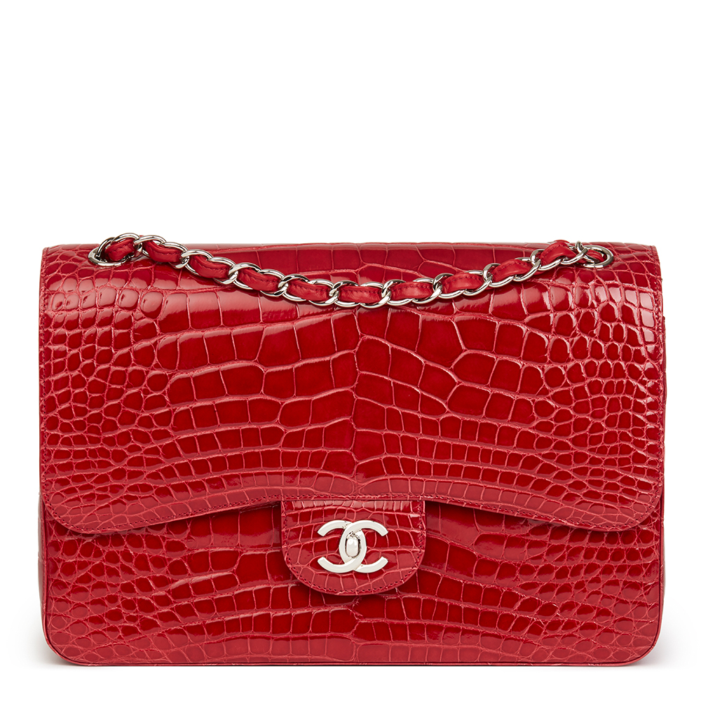 cfe01d3e169a Chanel Red Shiny Mississippiensis Alligator Leather Jumbo Classic Double Flap  Bag