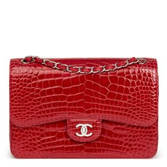 Chanel Red Shiny Mississippiensis Alligator Leather Jumbo Classic Double Flap Bag