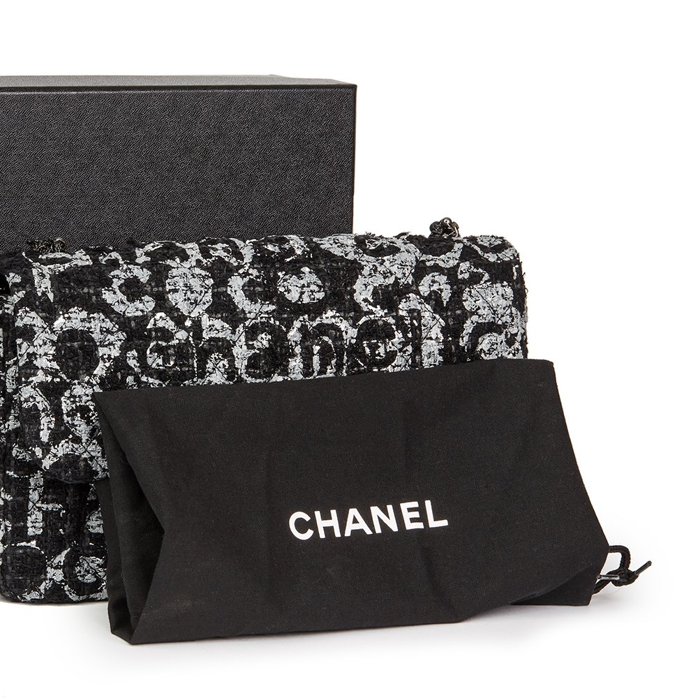 3d3fa8f651536f Chanel Black Quilted Hand Painted Tweed Medium Westminster Pearl Flap Bag