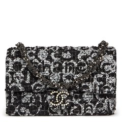 Chanel Black Quilted Hand Painted Tweed Medium Westminster Pearl Flap Bag